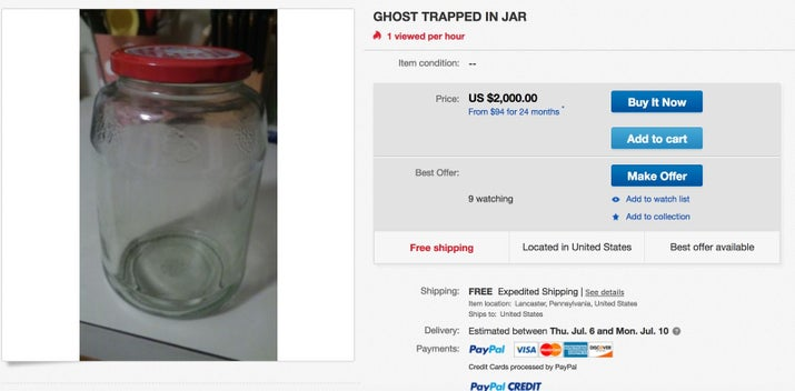 """Ghost/Spirit trapped in large jar. DO NOT OPEN OR BREAK!"""