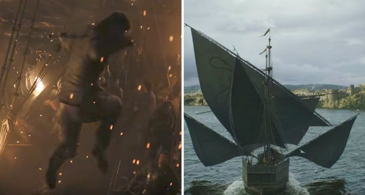 These shots from the trailer appear to show Yara jumping through the air while her fleet is attacked by Euron's, before a huge number of Greyjoy ships sail calmly into King's Landing.If this fleet was Yara's, surely there would be some sort of counter-attack from the Lannisters? The ease with which the ships are approaching the capital ominously suggests that this is Euron on his way to make a deal with Cersei, meaning he must have been victorious. Good luck, Yara.Likelihood: 9/10 ?????????How: Killed by Uncle Euron when her fleet is attacked.