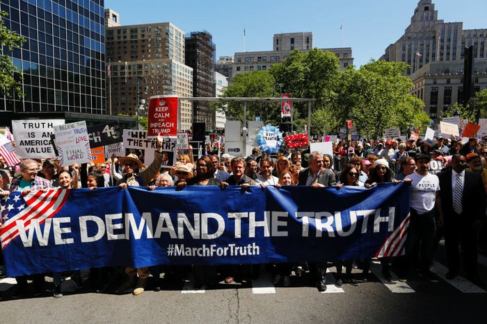 """The protestors are calling for """"a fair and impartial investigation, for the pursuit of truth, and for the restoration of faith in our electoral system and the Office of the Presidency."""" (US spy agencies agreed Russia worked to help Trump in the 2016 election.)""""The legitimacy of our democracy is more important than the interests of any party, or any President,"""" reads the march's website. Organizers claimed there would be marches in more than 100 US cities.In May, the Deputy Attorney General Rod Rosenstein appointed former FBI director Robert Meuller as special counsel to oversee the probe into possible tied between Trump and Russia. """"The public interest requires me to place this investigation under the authority of a person who exercises a degree of independence from the normal chain of command,"""" Rosenstein said at the time."""