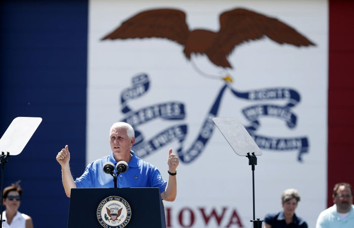 Vice President Mike Pence speaks during an annual fundraiser for U.S. Sen. Joni Ernst on Saturday.