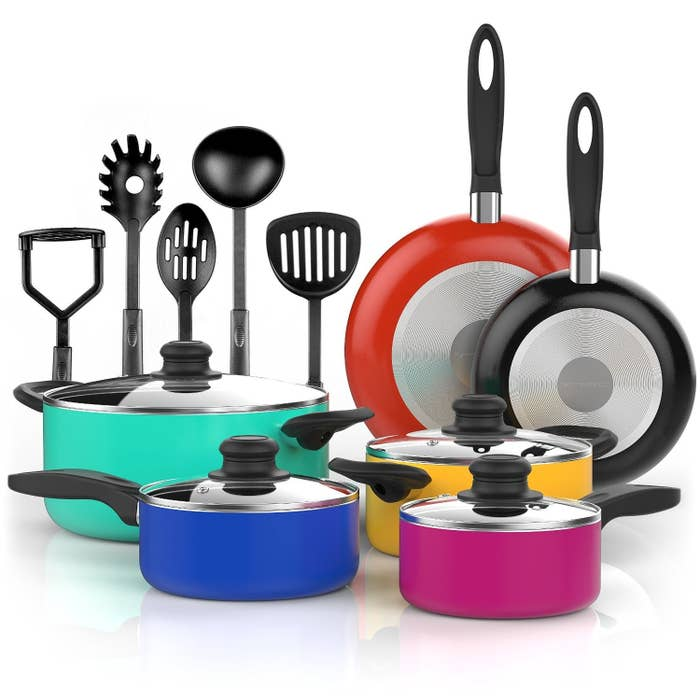 """The pots are oven-safe and made from PTFE- and PFOA-free aluminum. Includes five sauce pans and glass lids, two frying pans, and five cooking utensils.Promising Review: """"These pots are very pretty, heavy, and large. I love the shape at the top because it helps prevent water boiling over them!"""" —Diane Harding Get the15-piece set from Amazon for $42.99 (also available in black)."""