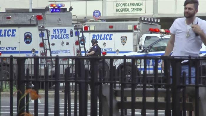 Emergency personnel converge on Bronx Lebanon Hospital Friday.