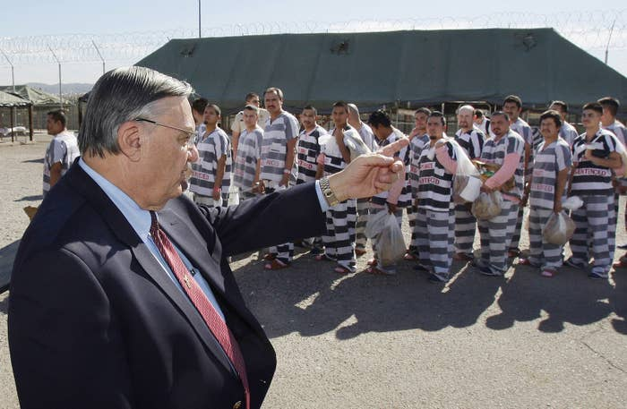 Maricopa County Sheriff Joe Arpaio orders about 200 convicted undocumented immigrants handcuffed together and moved into a separate area of Tent City in 2009.