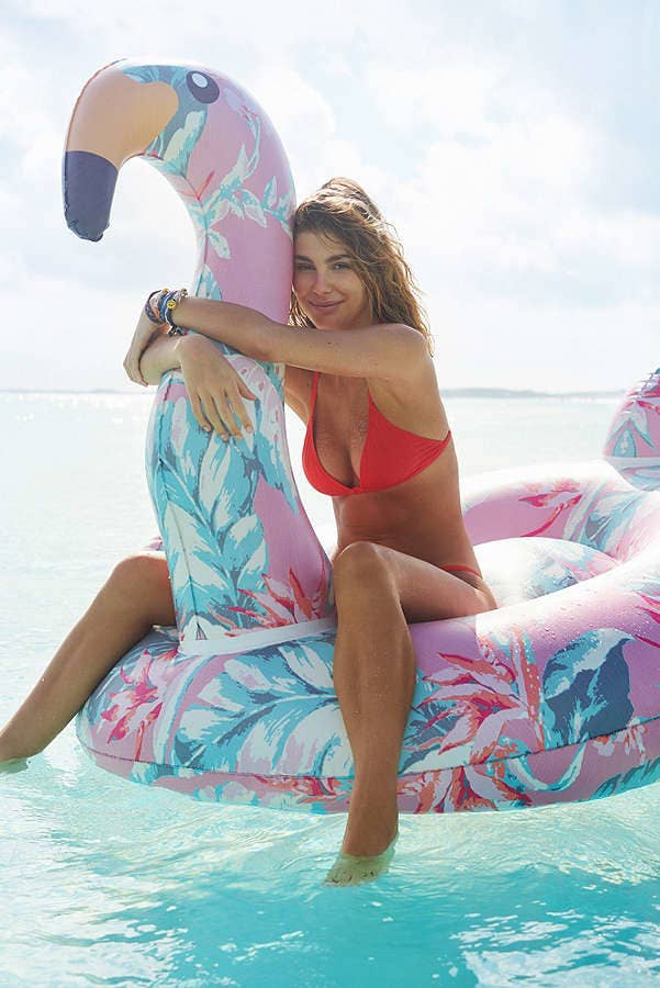 74c5aaff481dd Impress your Insta followers when you strike a pose in this gorgeous floral  flamingo float.