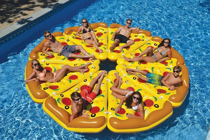 "Pro tip: Buy eight to make a pizza pie! Promising Review: ""This is the best floatie EVER! Not only is it an awesome pizza design, it is very well-made. Quality is awesome. I get so many compliments on this!"" —Amazon CustomerGet it from Amazon for $28.79."
