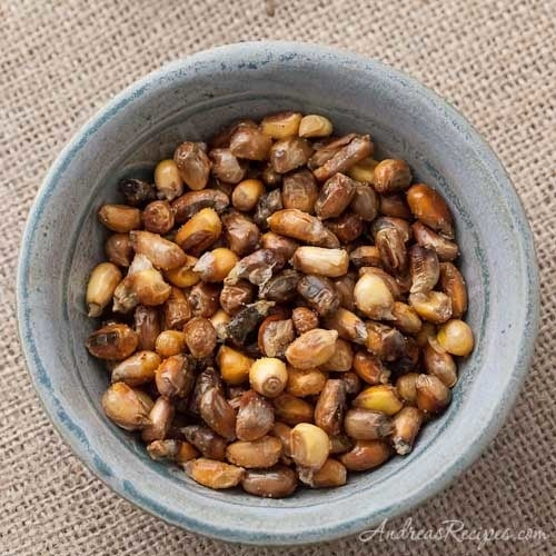 What is it? Salty, crunchy toasted corn.This Peruvian version of popcorn is sold as a snack all over the country, and often served as a gratis pre-appetizer dish at restaurants and bars. Recipe here.