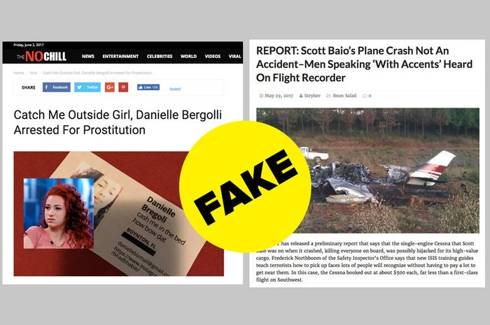 Fake news articles from two of the sites Revcontent was working with when it announced an anti–fake news initiative.