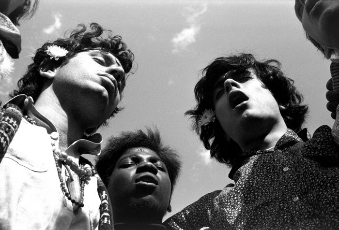 Larry Zupan, Mark Hunter, and Peter Pizzitola join in a group chant in New York's Central Park in June 1967.