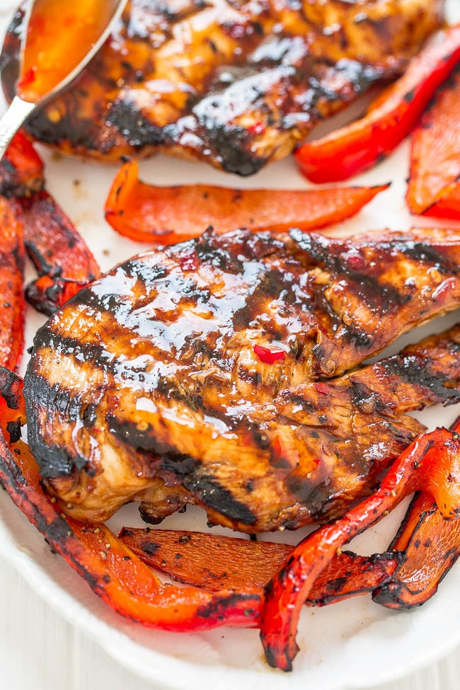 This recipe adds sweetness and spice to grilled chicken breasts with an easy sweet chili marinade. Get the recipe here.