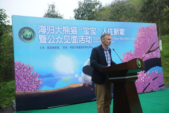 David Rank speaks during the celebration for Bao Bao the panda on March 24, 2017 in Chengdu, China.