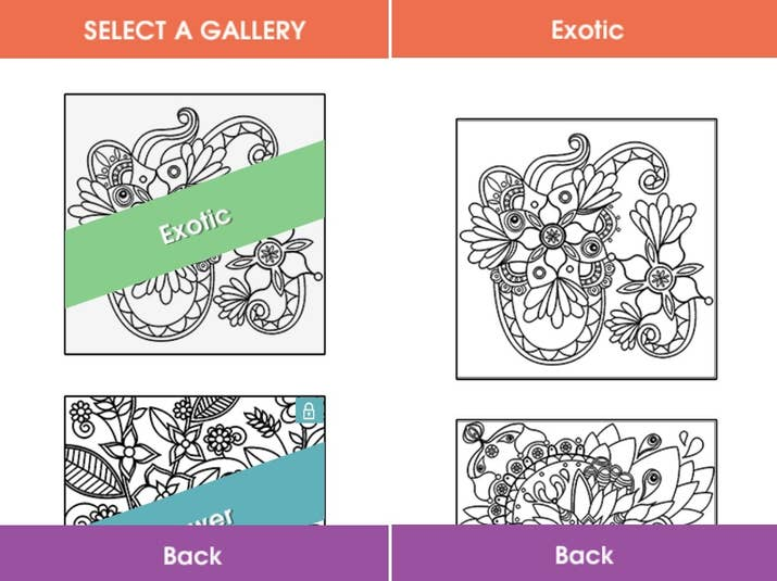 ColorTherapy Includes Galleries Of Mandalas Florals And Animals This App Is Best For Adults