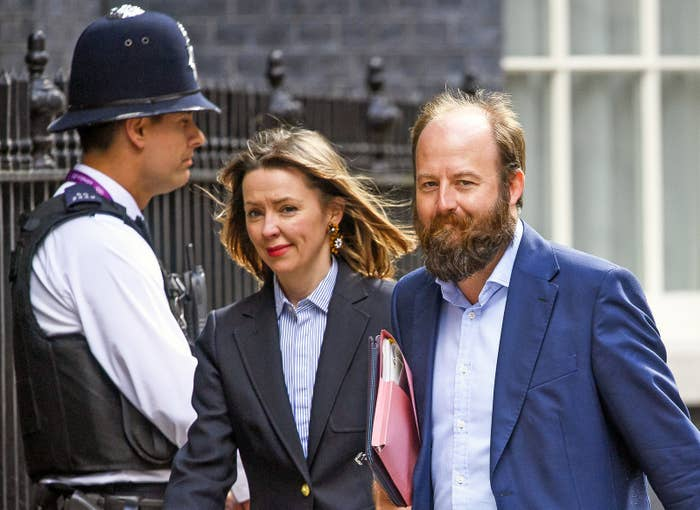 Fiona Hill and Nick Timothy arriving at 10 Downing Street.