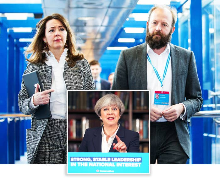 Fiona Hill and Nick Timothy seen on the fourth and final day of the Conservative party Conference in Birmingham in 2016. Inset: Theresa May makes a speech at the Royal United Services Institute for Defence and Security Studies in London on 5 June 2017.