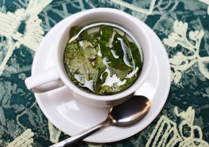 What is it? Tea brewed using Coca plant leaves. Natives and visitors alike sip on coca tea — or chew on raw coca leaves — at all hours of the day to alleviate altitude sickness and help with digestion. Cocaine is also produced using chemical extracts of the leaves, which would explain why you can't pack bring this stuff back into your home country. Womp.