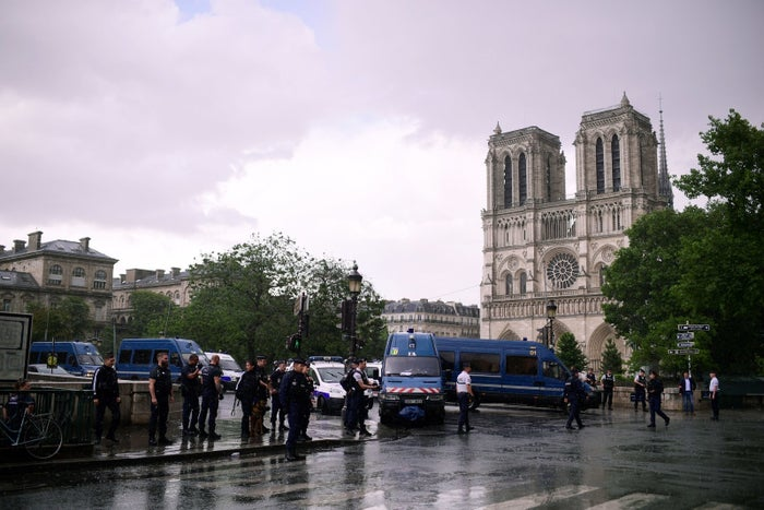 The scene outside Notre Dame on Tuesday.