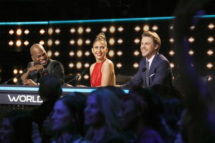 Jennifer Lopez judging World of Dance with NE-YO (L) and Derek Hough (R).
