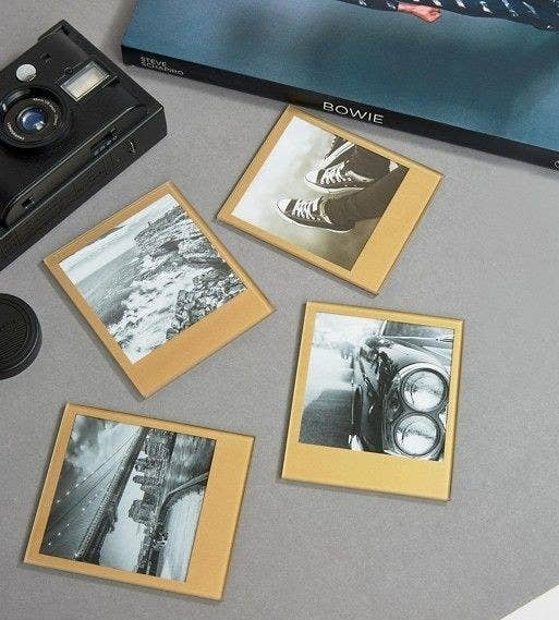 24 fancy fathers day gifts that are surprisingly inexpensive golden polaroid inspired coasters for the dad who always made you pose for pictures growing up negle Image collections