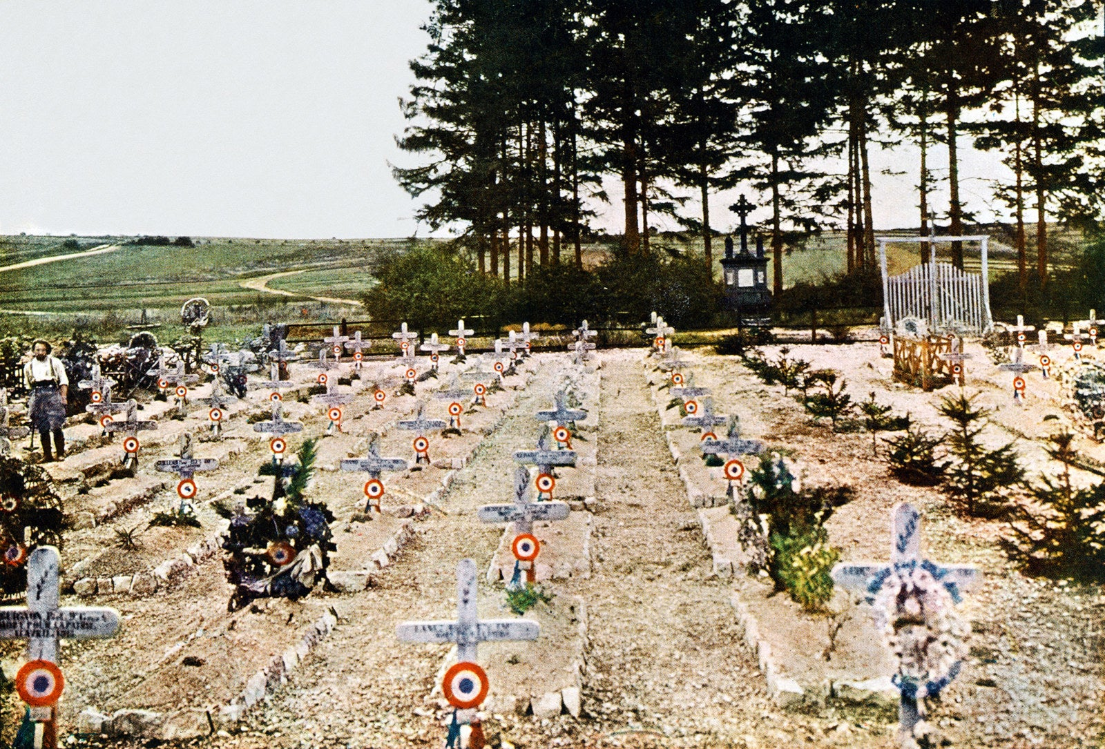 Autochrome by Jules Gervais-Courtellemont of a French military cemetery, 1916.