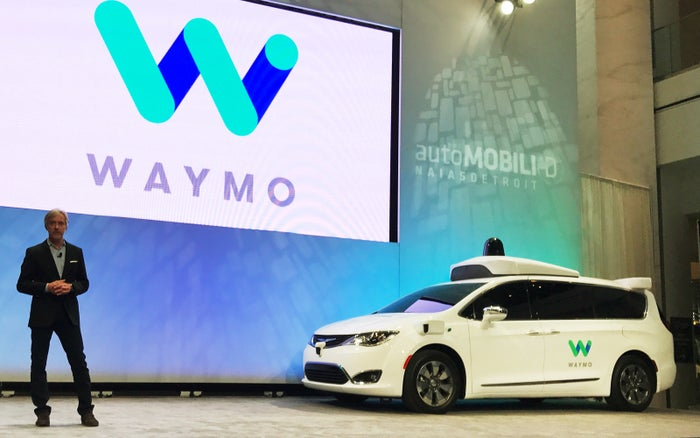 Waymo CEO John Krafcik unveils a Chrysler Pacifica Minivan equipped with a self-driving system developed by the Alphabet Inc unit at the North American International Auto Show in Detroit, Michigan, U.S., January 8, 2017.