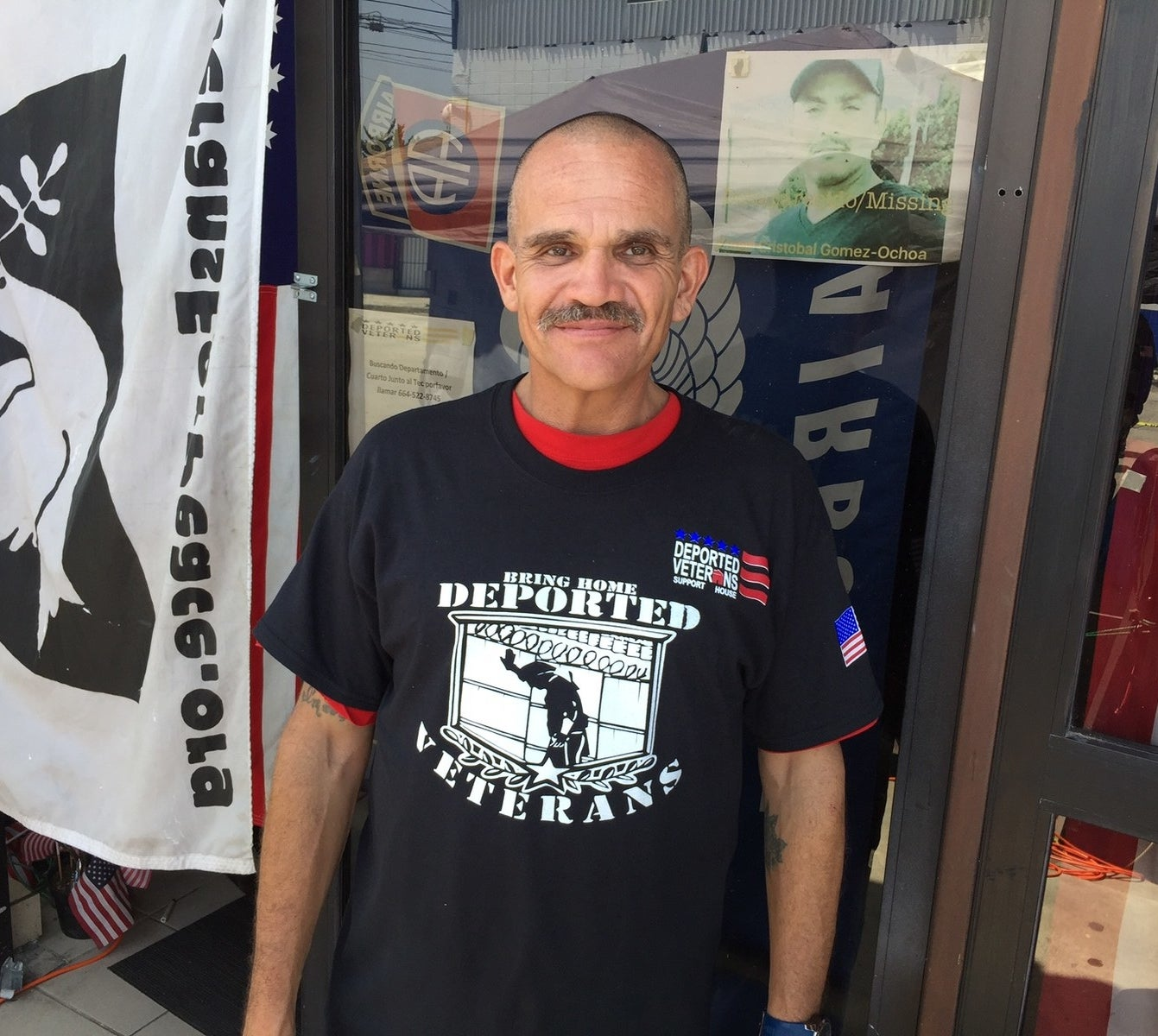 Alejandro Gomez outside of the Deported Veterans Support House, a base for efforts to lobby for rights of deported US military veterans.