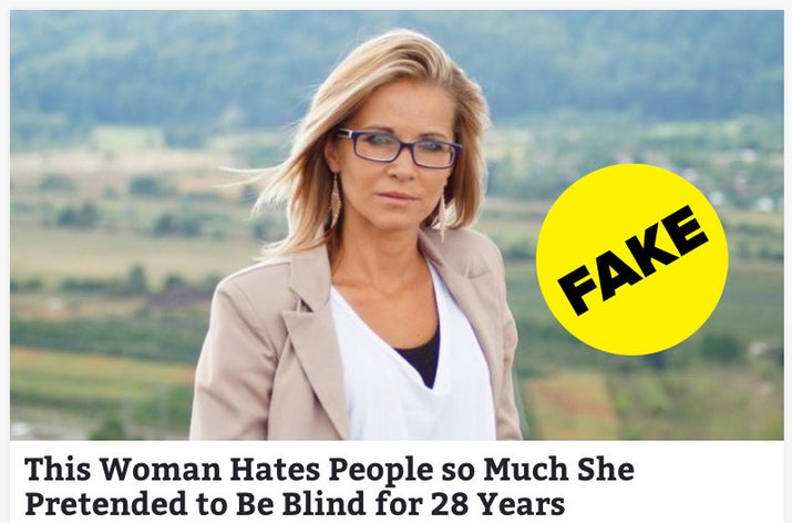 """The hoax originated with the satirical Spanish website Hay Noticia, the tagline of which translates to """"Don't believe everything on the internet."""" According to the satirical story, a 57-year-old woman named Carmen Jiménez faked being blind for almost three decades because she didn't like small talk. """"I was tired of seeing people and stopping to say hello. I've never been very social, and pretending to be blind has avoided many social commitments,"""" the fictitious Jiménez is quoted as saying."""