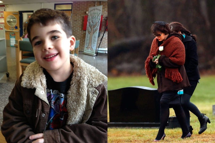 Noah Pozner, 6, in a family photo. His mother, Veronique Pozner, arrives at his gravesite in December 2012.