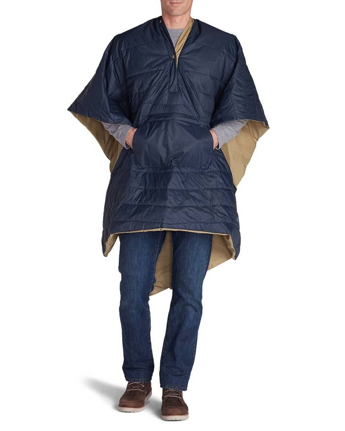 """Promising review: """"I used this at the racetrack on a chilly night and it gives great coverage. Very warm. I could have sold mine several times over. I made sure to let people know where to find one."""" —AngelineGet it from Eddie Bauer for $40 (available in red or indigo)."""