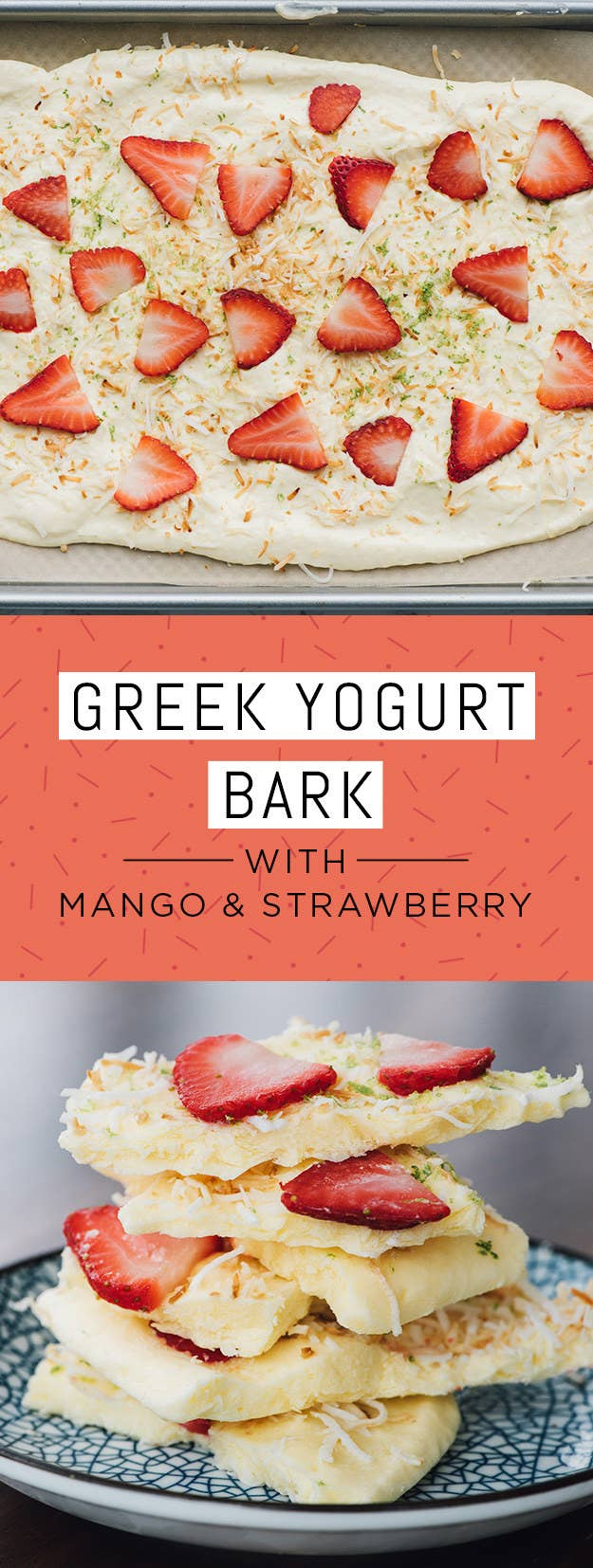 Greek Yogurt Bark With Mango & Strawberry