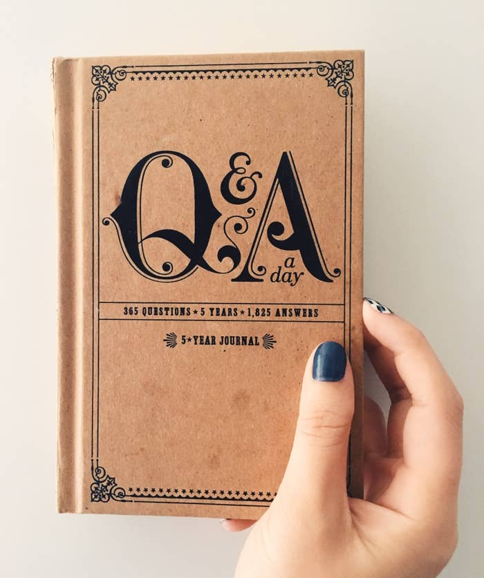 """Very promising review: """"As a therapist who often encourages clients to journal, I figured I needed to start practicing what I preach. However, I am pretty bad at coming up with places to start. This little book is perfectly-sized for a nightstand or an overnight bag for traveling. The questions are thought-provoking but simple enough to answer in a sentence or two. I love the way it is designed, so that you can use the same book year after year and can start whenever. I can't wait for the year to loop around so I can see how my answers will change."""" —pprbckwrtr"""