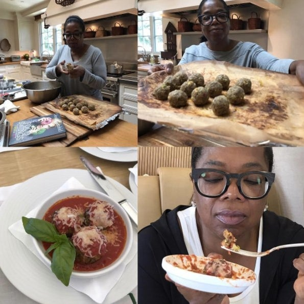 Oprah making Italian meatballs.