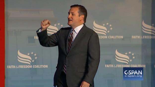 To recap, Cruz is giving a banger speech...