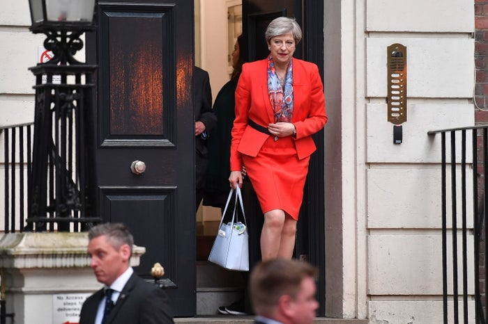 Theresa May leaves Conservative party HQ in central London on 9 June 2017.