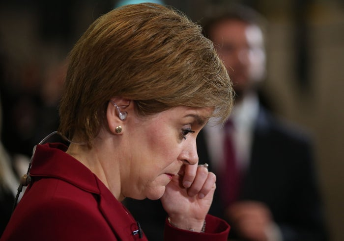 First minister Nicola Sturgeon speaks to the media at the Emirates Arena in Glasgow, as counting is underway for the general election.