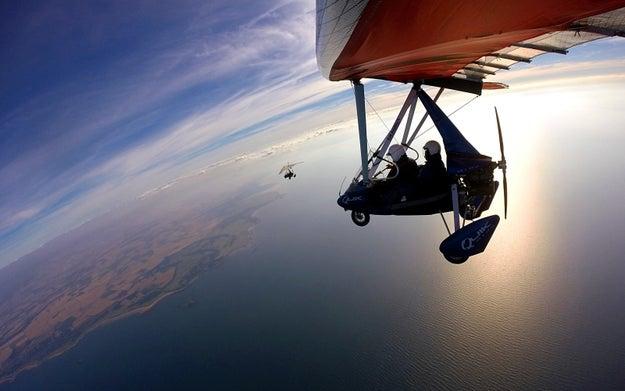 Flying a microlight in East Lothian