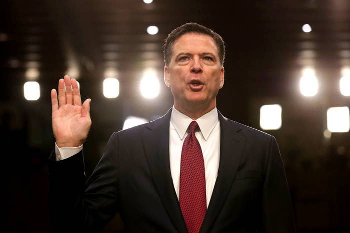 Former FBI Director James Comey is sworn in while testifying before the Senate Select Committee on Intelligence in the Hart Senate Office Building on Capitol Hill June 8 in Washington, DC. Comey said that President Donald Trump pressured him to drop the FBI's investigation into former national security adviser Michael Flynn and demanded Comey's loyalty during the one-on-one meetings he had with president.