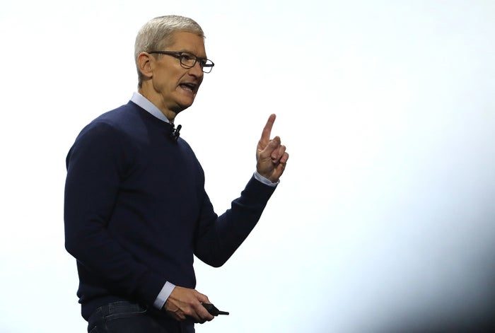 Apple CEO Tim Cook delivers the opening keynote address the 2017 Apple Worldwide Developer Conference (WWDC) on June 5, 2017.