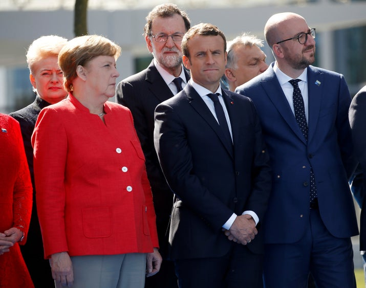 NATO leaders react during Trump's speech in Brussels