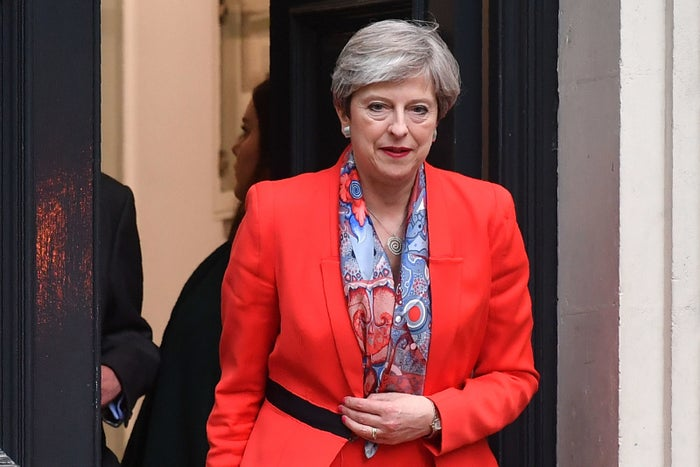May leaves the Conservative Party HQ in central London on Thursday morning.