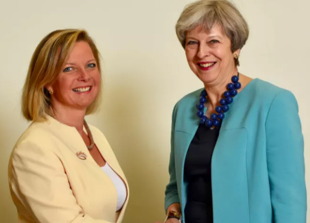 Kristy Adams with Theresa May.