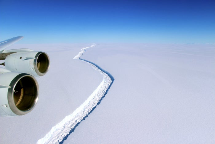 The crack in the Larsen C ice shelf that resulted in the new iceberg.
