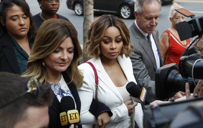 Blac Chyna, center, and her attorney Lisa Bloom arrive at court in LA on July 10.