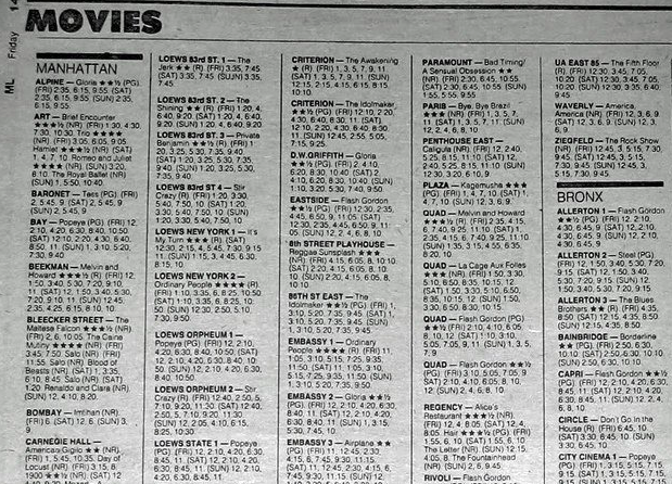 Looking up movie times in a real, physical newspaper: