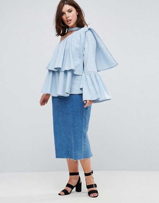 A one-shoulder denim shirt packing in allll the current trends.