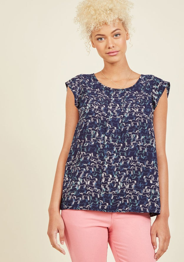 This office-appropriate top with an equine print a horse girl would never say neigh to.