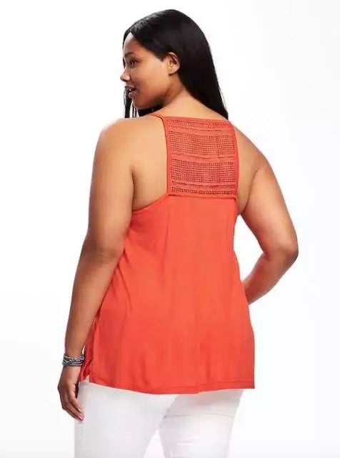 This party-in-the-back tank with an adorable crochet panel to help you avoid weird sweat stains.
