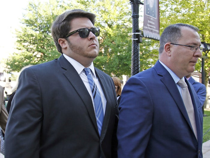 Gary Dibileo (left) arrives for his preliminary hearing on charges related to the hazing death of Timothy Piazza at Penn State's Beta Theta Pi fraternity.