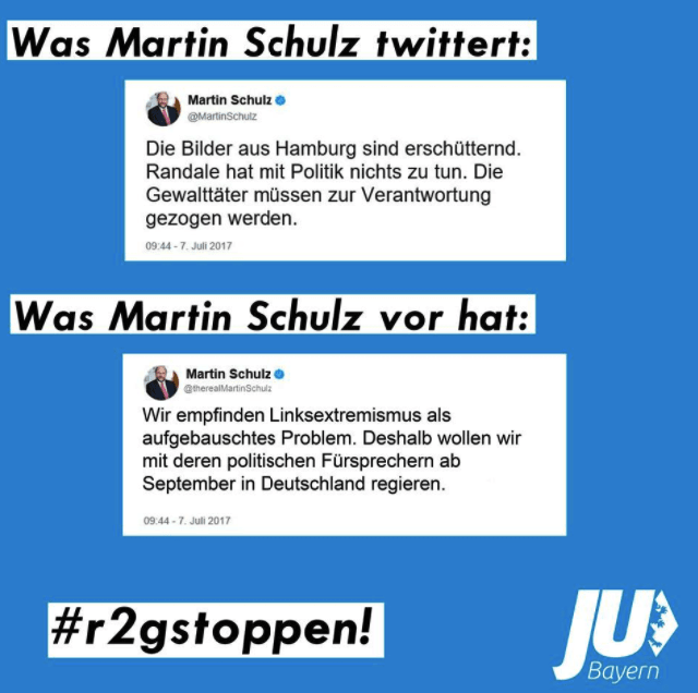 "The headline over the second, fake tweet says, ""What Martin Schulz is up to."" The text of the tweet reads, ""We don't think that left extremism is a huge deal. That's why we want to govern with their advocates after September.""The caption posted alongside the image criticized Schultz for the second tweet. ""Martin Schulz distanced himself from the left-wing extremism over the weekend in Hamburg, but wants to form a new coalition with the defenders of these madmen in autumn. We must prevent this together!"""