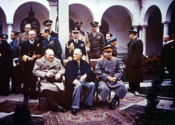 A group portrait of Allied leaders at the Yalta Conference, which was held at the Livadia Palace in Livadiya, Soviet Union (later Ukraine), in February 1945. From left: British Prime Minister Winston Churchill, US President Franklin D. Roosevelt, and Soviet leader Joseph Stalin. The conference was called to discuss Europe's postwar reorganization in the years to come.
