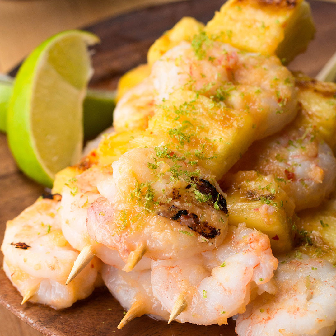 These Tropical Shrimp And Pineapple Grilled Skewers Pack A Flavor Punch