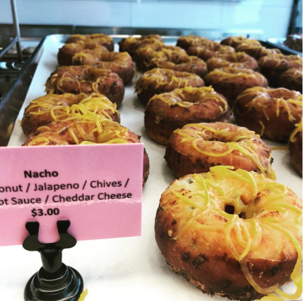 This L.A favorite consists of a raised doughnut topped with jalapeño, chives, hot sauce, and cheddar cheese. Maybe save this one for lunch time.
